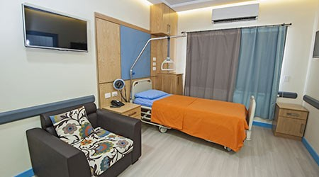 Interior design of a private ward room in hospital medical clinic center