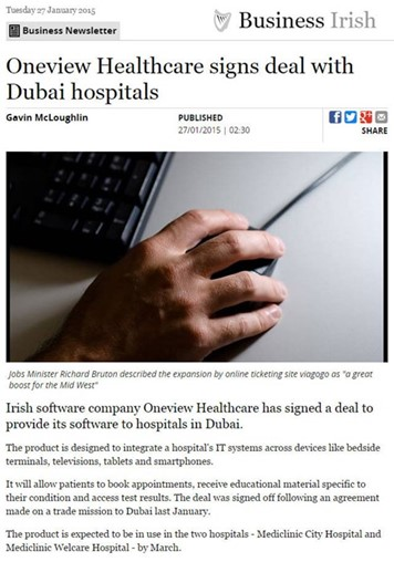 Independent.ie: Oneview Signs Deal with Dubai Hospitals