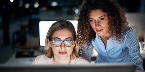 Looking at computer screen