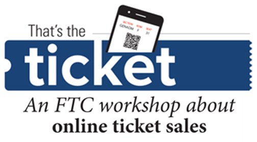 Logo for FTC That's the Ticket workshop about online ticket sales