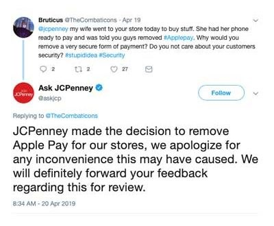 JCPenney Drops Apple Pay